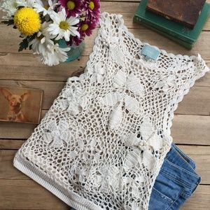 Skies Are Blue Boho Crochet Tank Top (M)